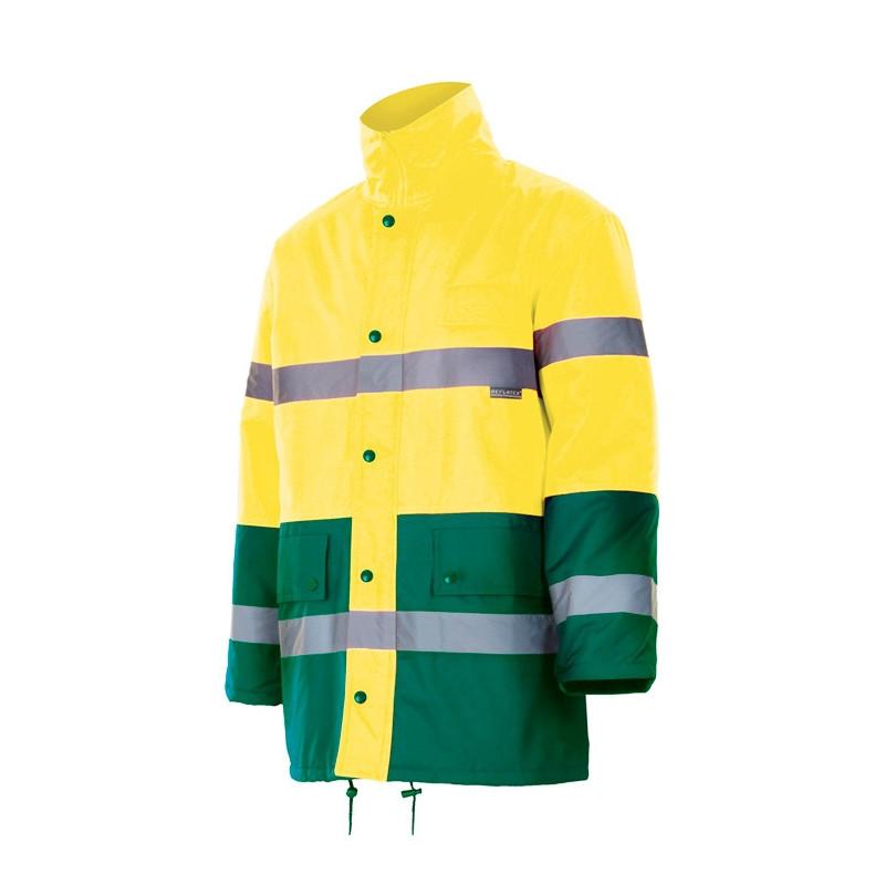Parka bicolor amarilla y...