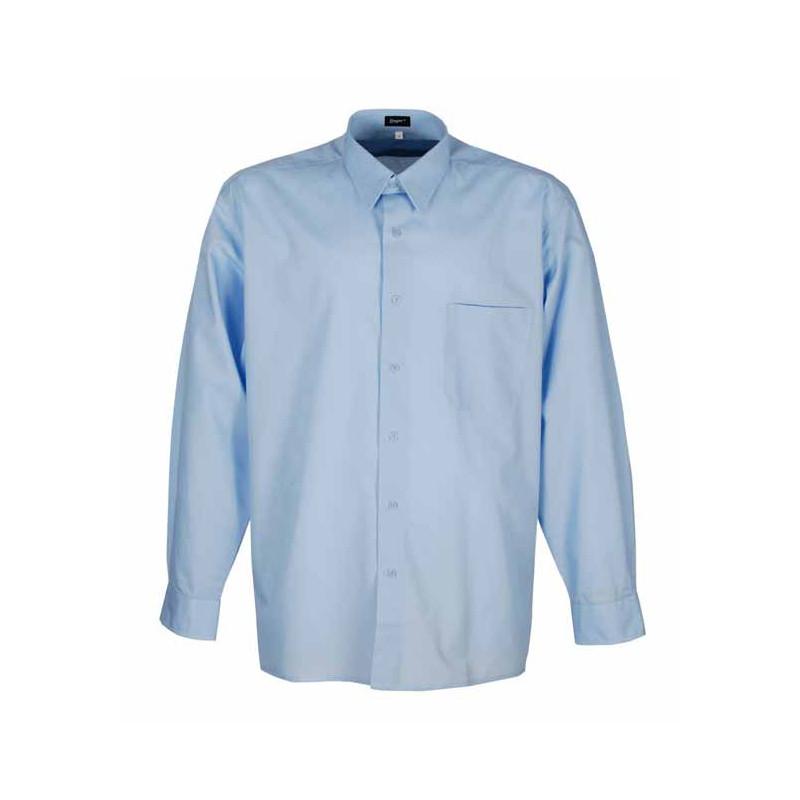 Camisa celeste manga larga-...